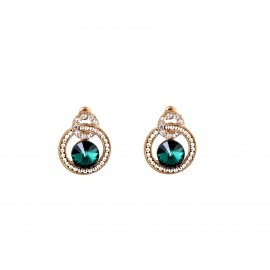 INDUS American Diamond Clip-On Earrings- Green
