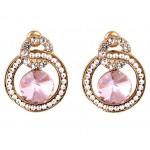INDUS American Diamond Clip-On Earrings- Pink
