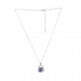 INDUS Blue Rhodium Plated  Cubic Zirconia (CZ) Stone Studded Keylock Pendant