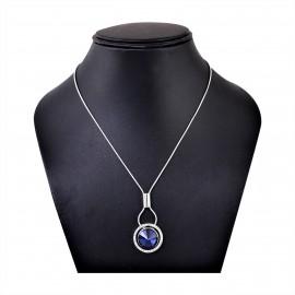 INDUS Blue Rhodium Plated Cubic Zirconia (CZ) Stone Studded Oval Pendant