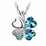 INDUS Brilliant Crystal Floral Silver Plated Flower Pendant-Sea Blue
