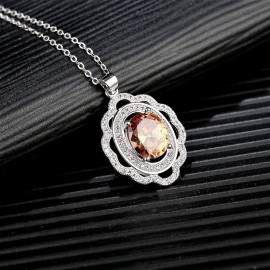 INDUS Brown Colour Rhodium Plated Cubic Zirconia (CZ) Stone Studded Pendant
