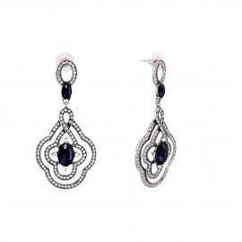 INDUS Crystal Elements Platinum Plated Drop Earrings- Blue