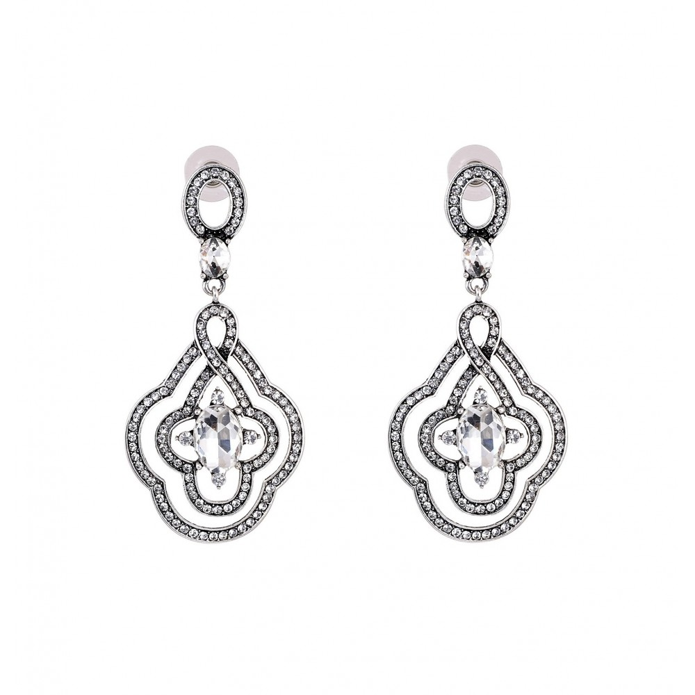 INDUS Crystal Elements Platinum Plated Drop Earrings- White