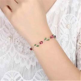 INDUS Elegant Crystal Leaf Rose Gold Swanky Charm Bracelet