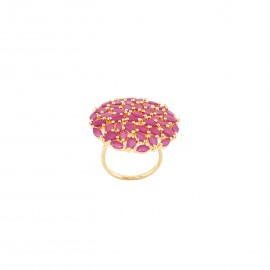 INDUS Gold Toned and Pink Stone Studded Adjustable Ring