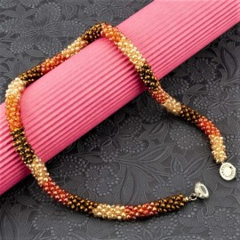 INDUS Peach Coloured And Brown Silver Plated Beaded Handcrafted Necklace