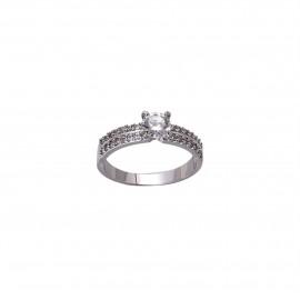 INDUS Platinum Plated American Diamond Fashion Ring